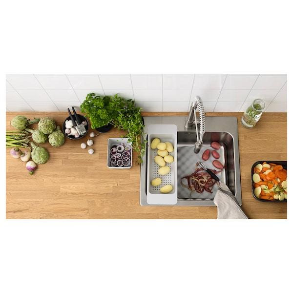 LÅNGUDDEN Inset sink, 1 bowl, stainless steel, 56x53 cm