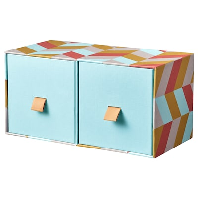 LANKMOJ Mini chest with 2 drawers, light blue/multicolour, 26x12 cm