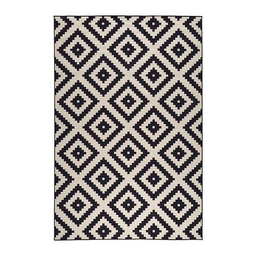 lappljung ruta rug low pile white black 200x300 cm ikea. Black Bedroom Furniture Sets. Home Design Ideas