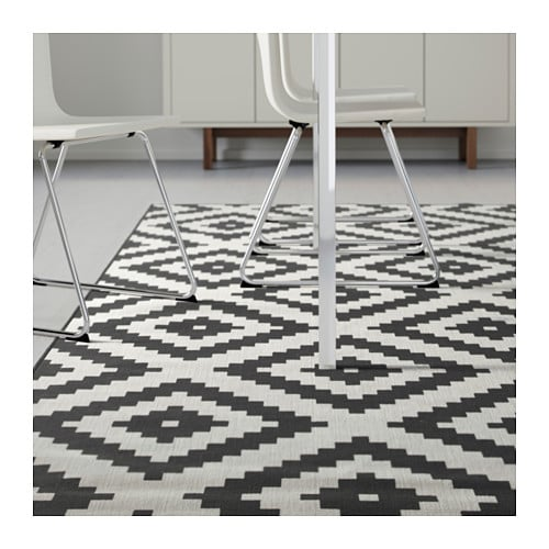 lappljung ruta rug low pile white black 200x300 cm ikea. Black Bedroom Furniture Sets. Home Design Ideas