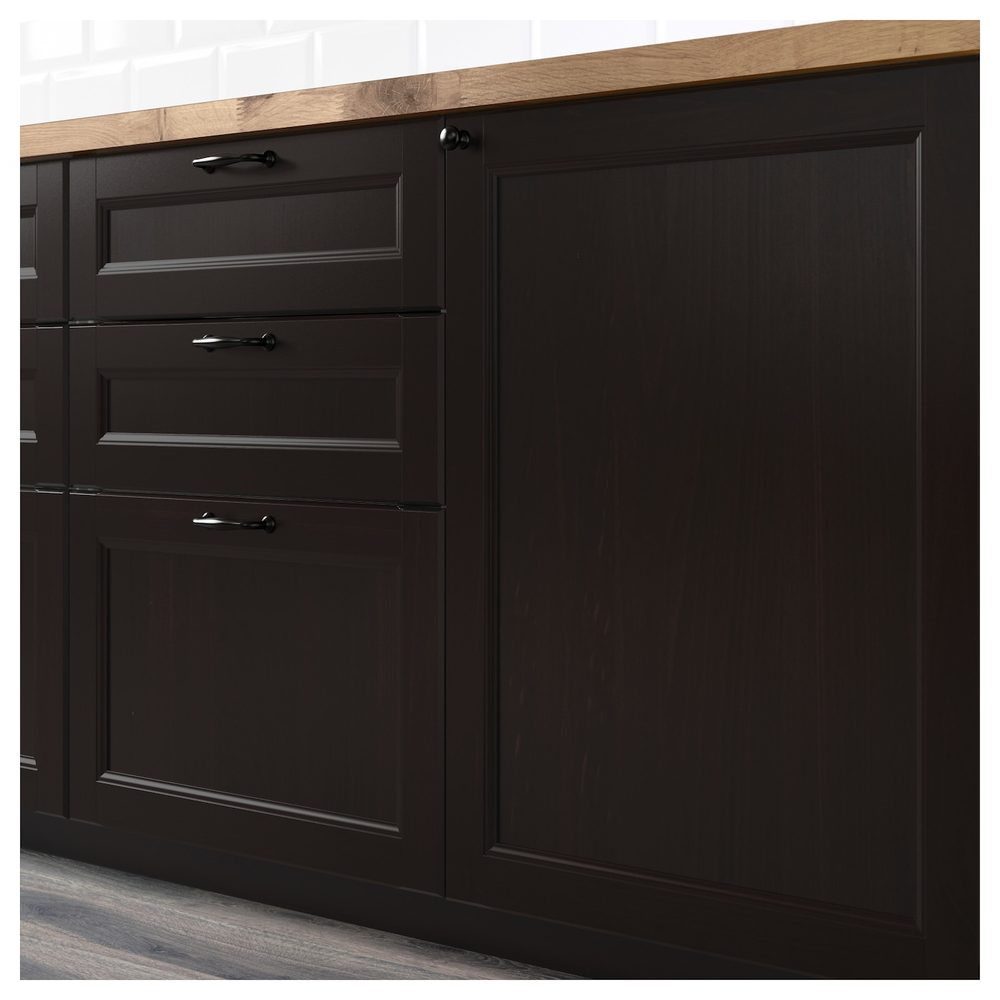 Laxarby 2 p door f corner base cabinet set black brown for Black kitchen cabinet doors