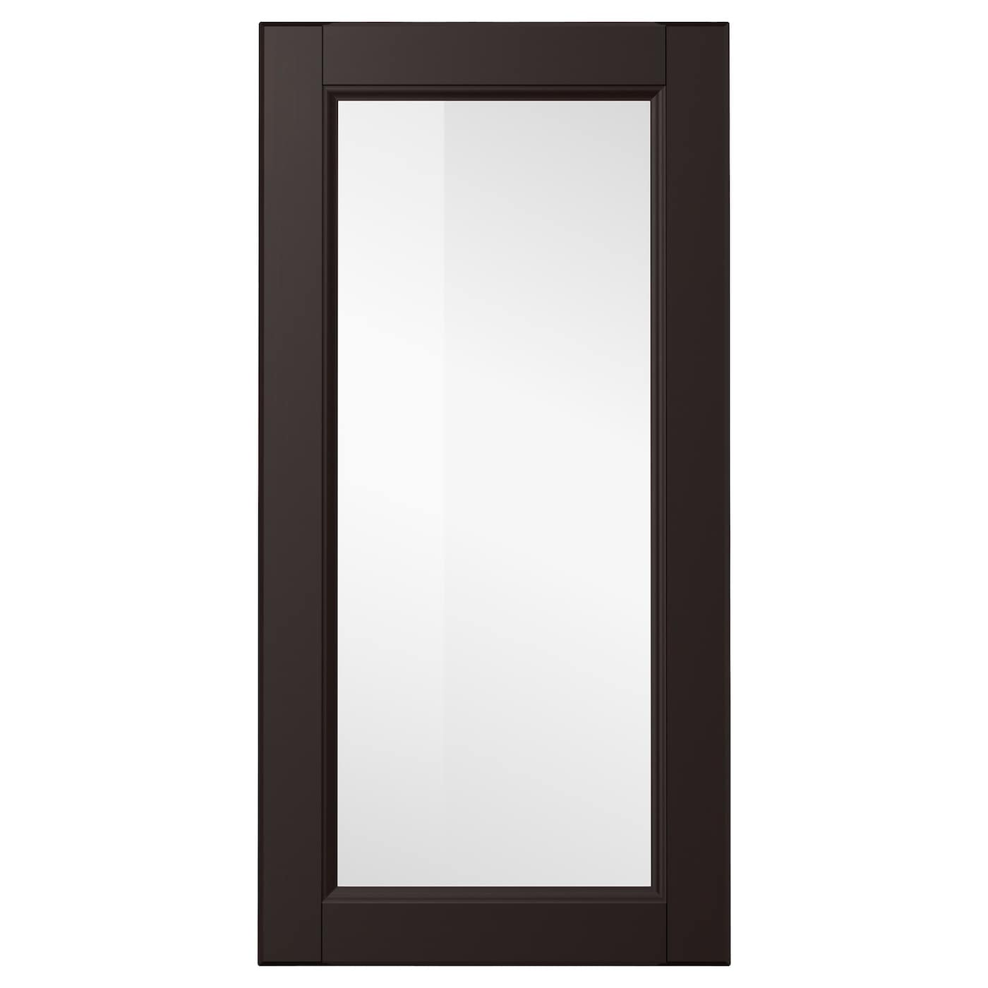 Laxarby glass door black brown 40x80 cm ikea for Black cabinet with doors