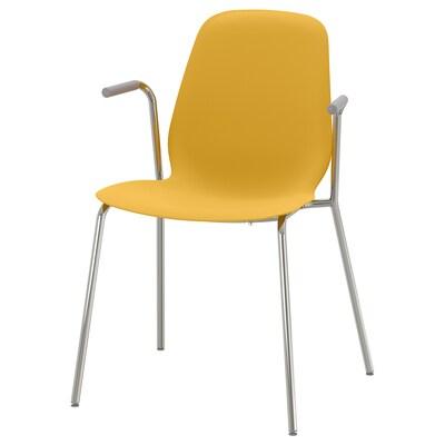 LEIFARNE Chair with armrests, dark yellow/Dietmar chrome-plated
