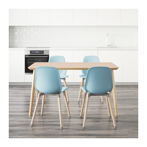 Leifarne lisabo table and 4 chairs ash veneer light blue for Table lit ordinateur ikea