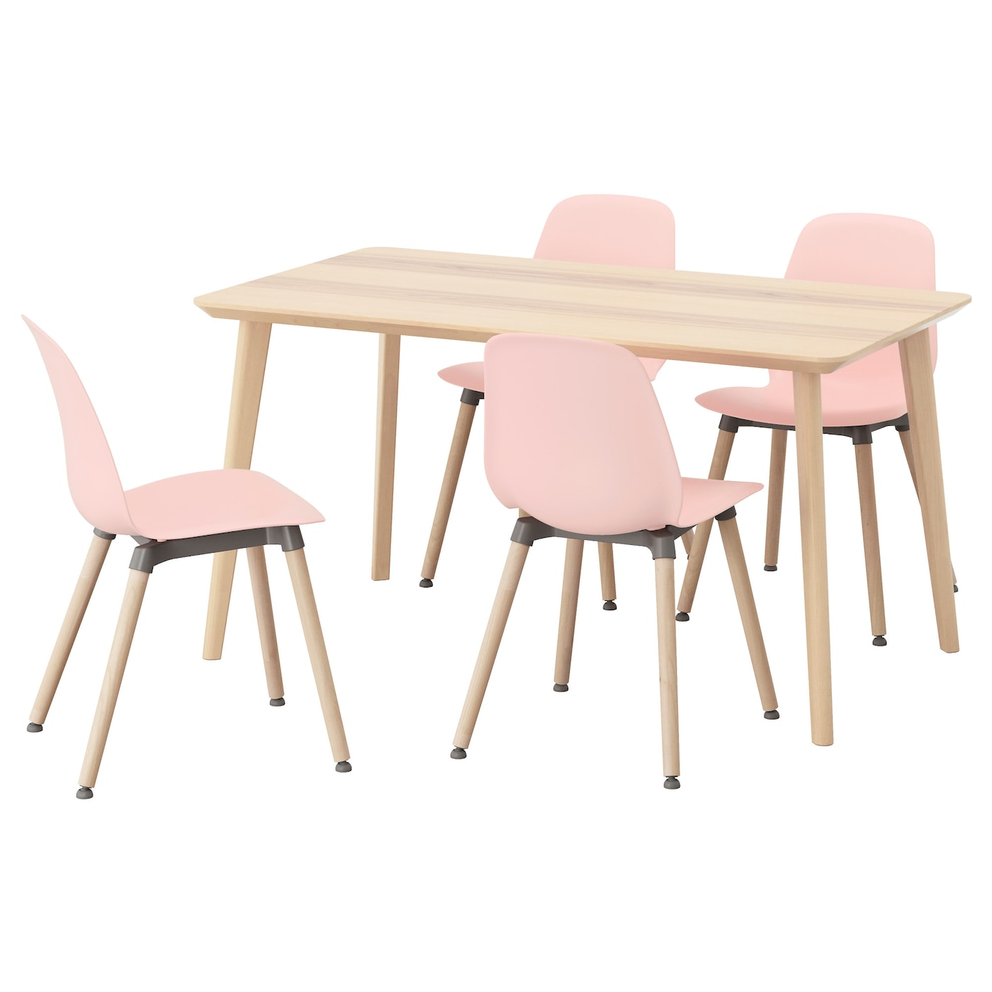 Leifarne lisabo table and 4 chairs ash veneer pink 140 cm for Ensemble table et chaise ikea