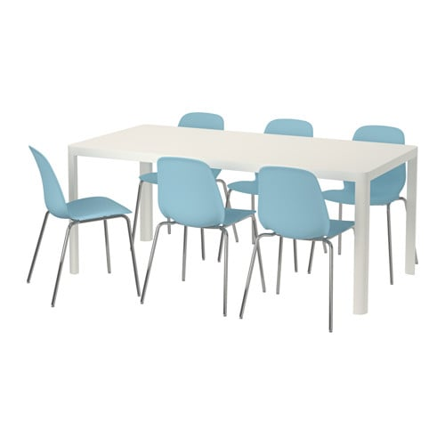 Leifarne tingby table and 6 chairs white light blue 180 cm for Table lit ordinateur ikea