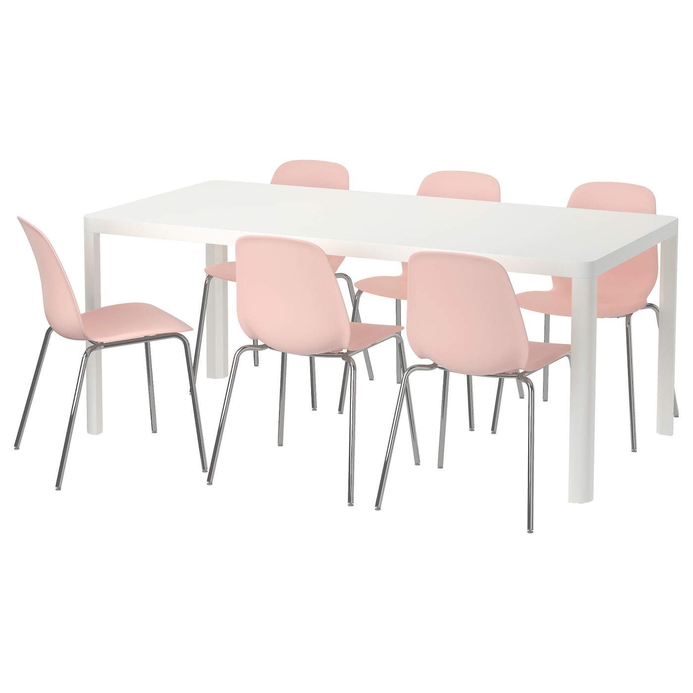 Leifarne tingby table and 6 chairs white pink 180 cm ikea for Table en pin ikea