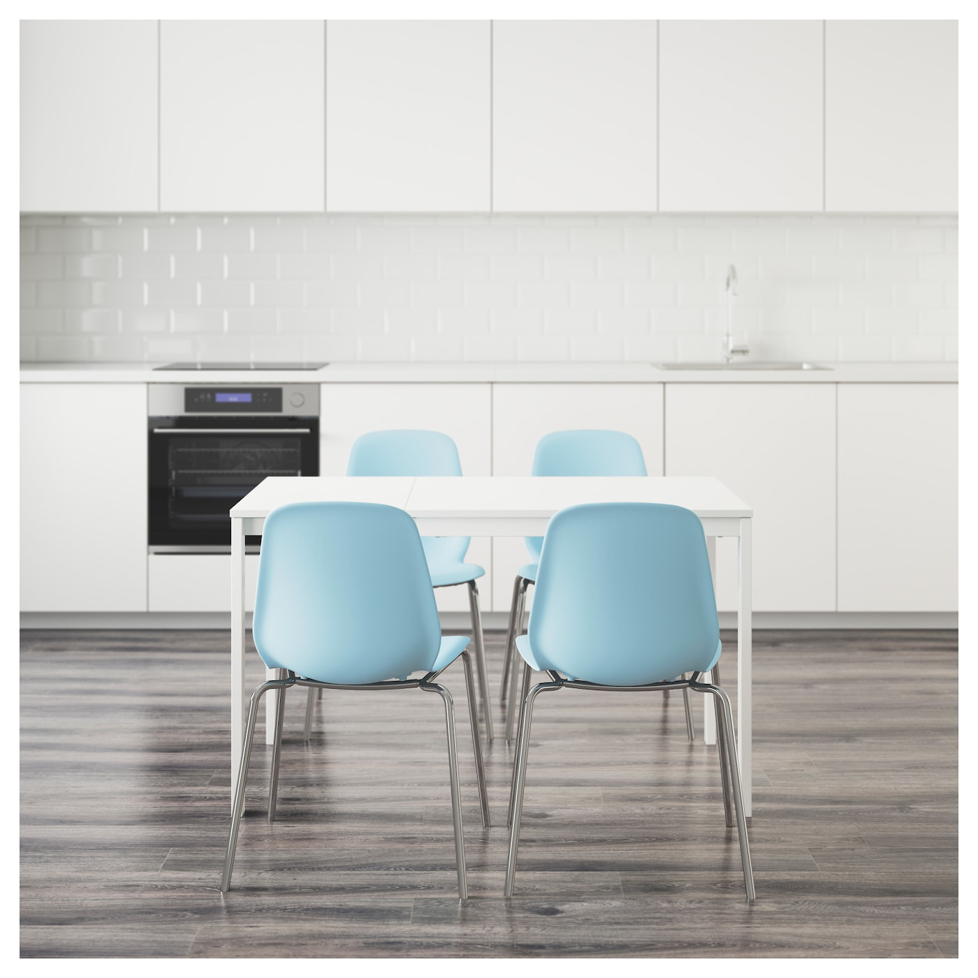 Leifarne vangsta table and 4 chairs white light blue 120 for Table lit ordinateur ikea