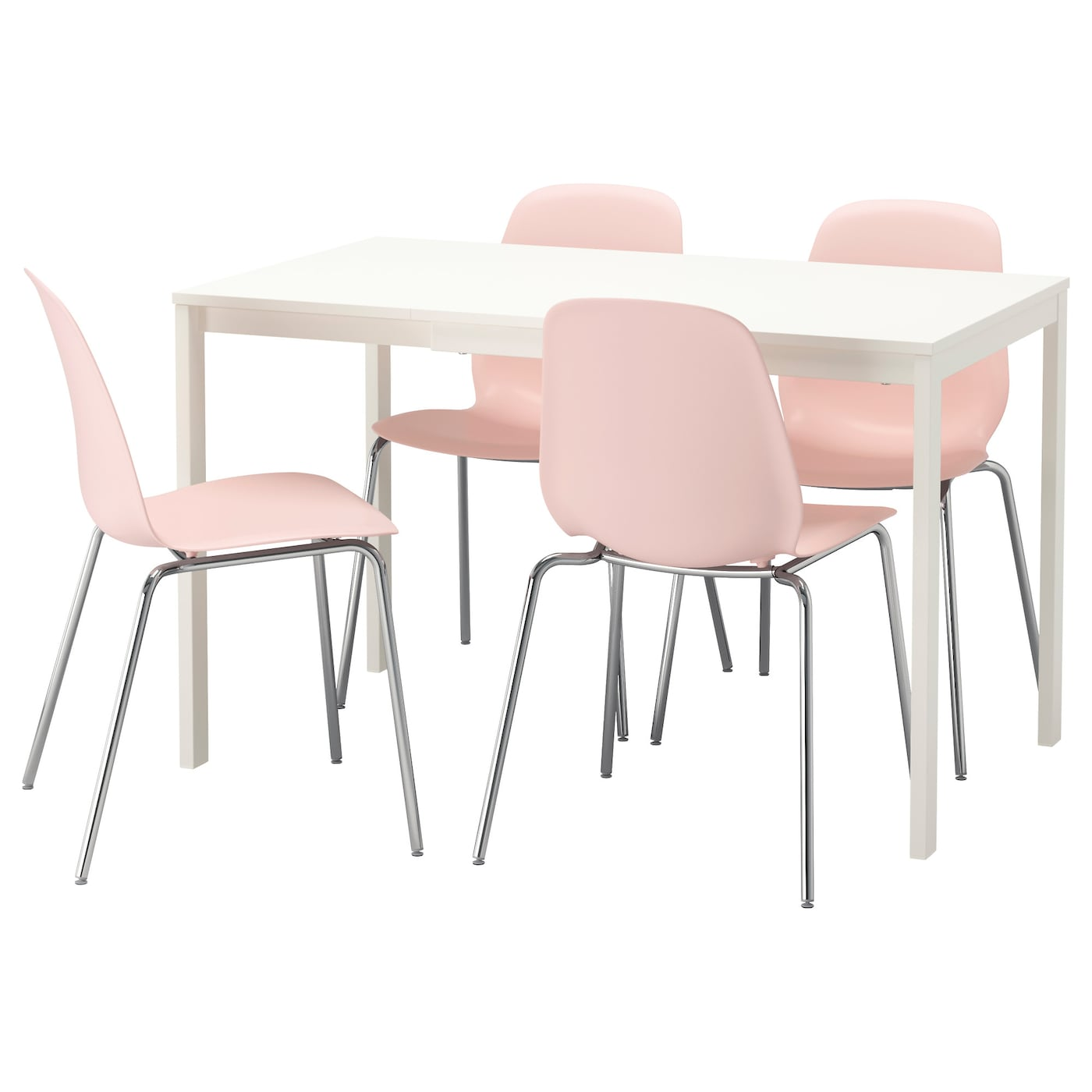 Leifarne vangsta table and 4 chairs white pink 120 180 cm for Ikea dining table and chairs set