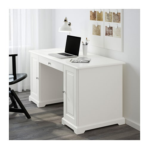 IKEA LIATORP desk You can fit a computer in the cabinet, since the shelf is adjustable.