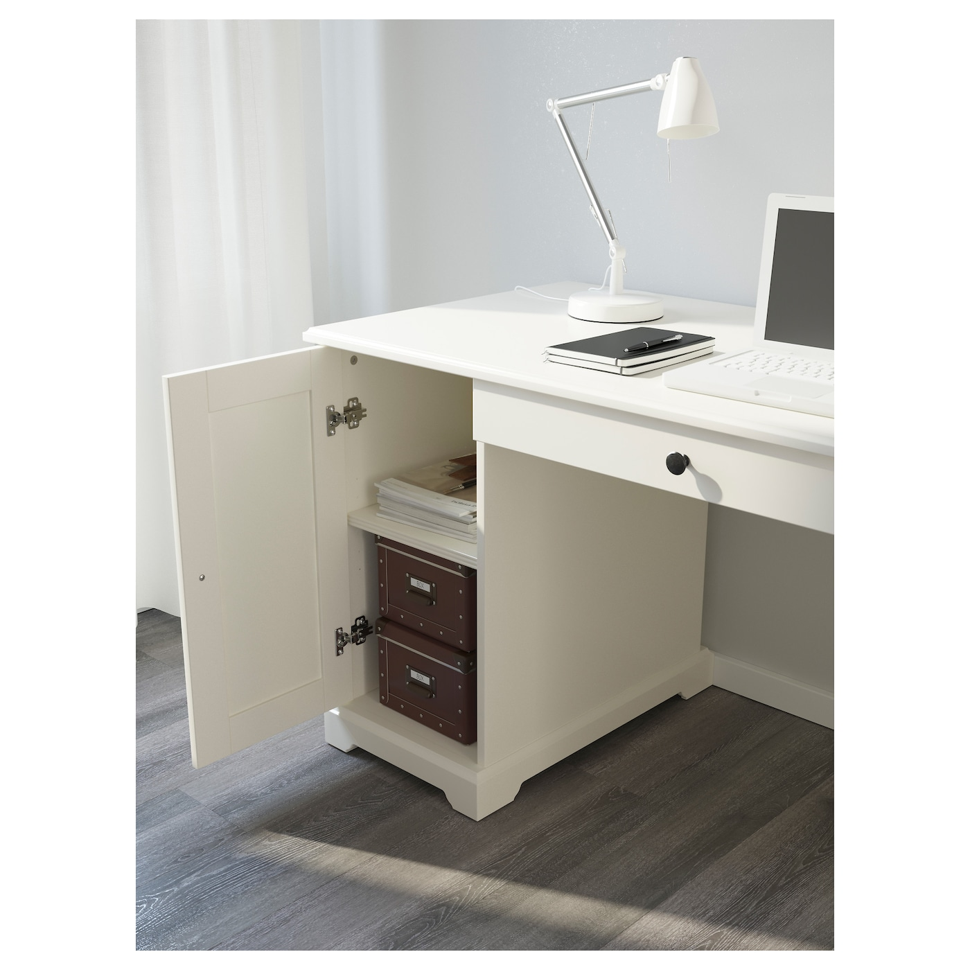 IKEA LIATORP Desk You Can Fit A Computer In The Cabinet, Since The Shelf Is Part 14