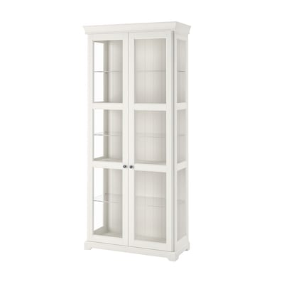 LIATORP Glass-door cabinet, white, 96x214 cm