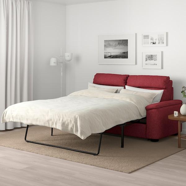 LIDHULT 2-seat sofa-bed, Lejde red-brown