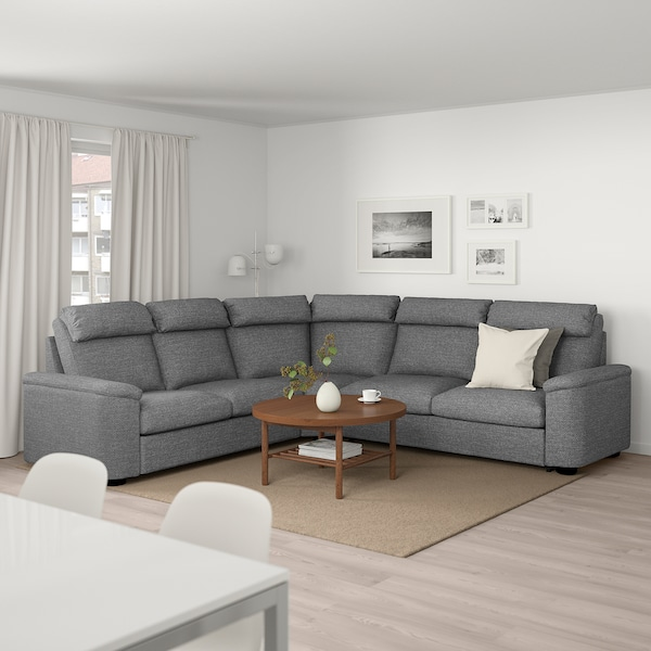 LIDHULT Corner sofa-bed, 5-seat, Lejde grey/black