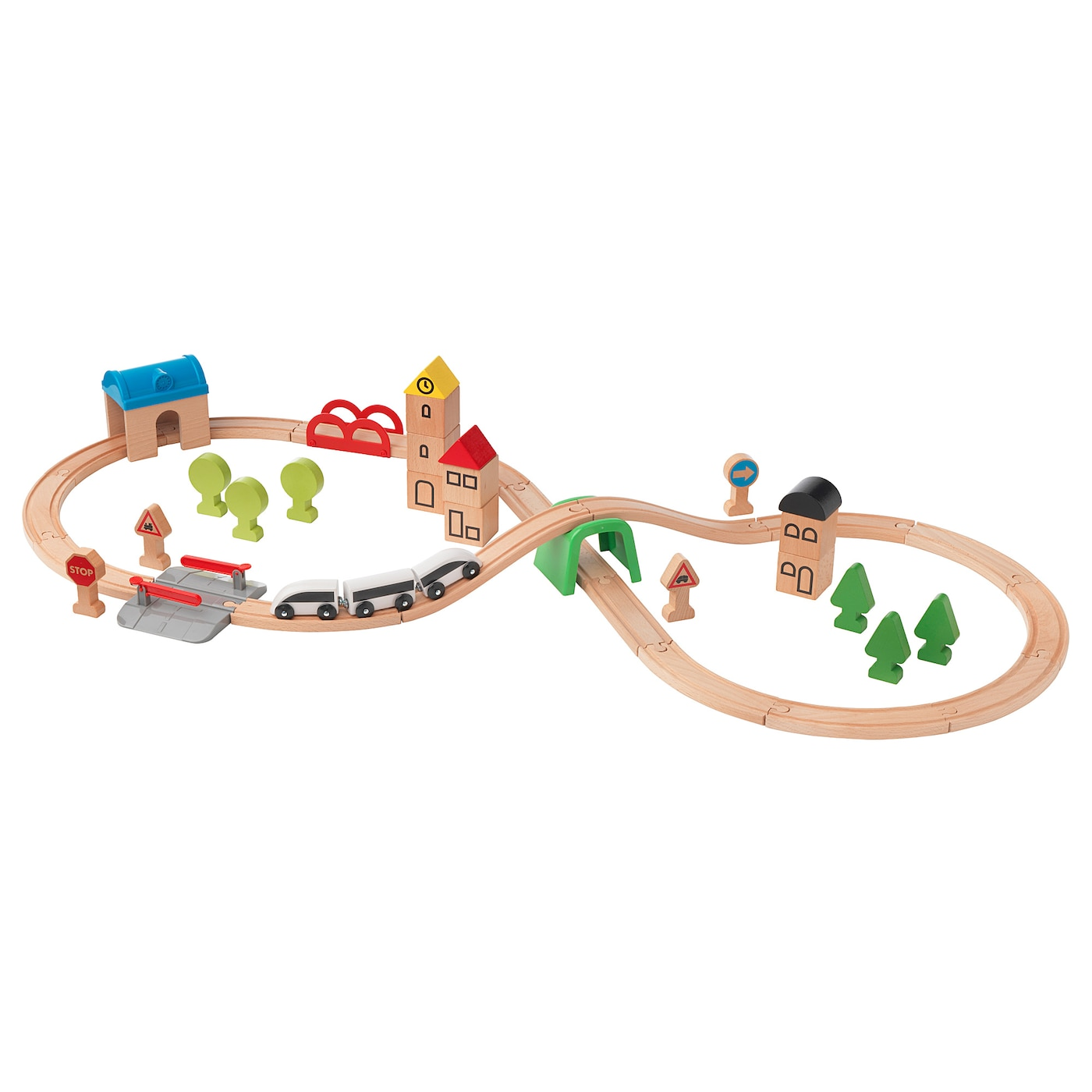 IKEA LILLABO 45-piece train set with rail Combines with most other railway systems on the market.