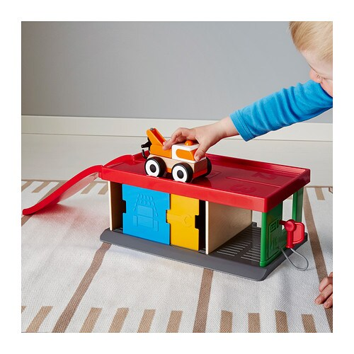 IKEA LILLABO garage with tow truck Develops fine motor skills and logical thinking.