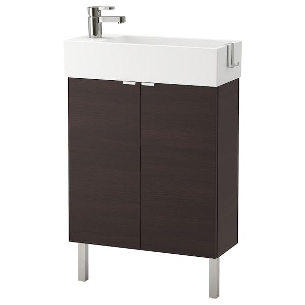LILLÅNGEN washbasin cabinet with 2 doors black-brown/Ensen tap 62 cm 60 cm 27 cm 93 cm
