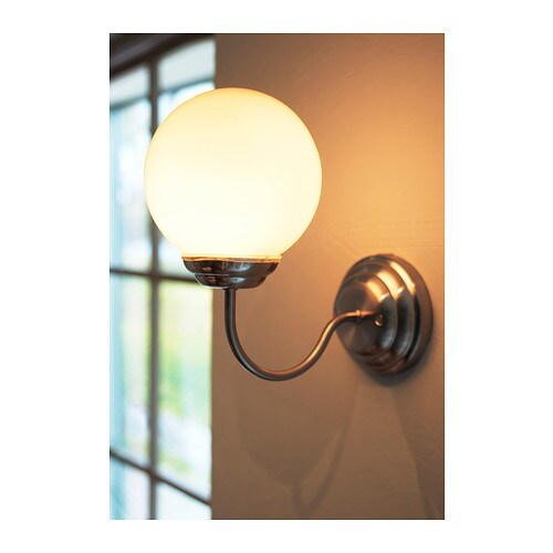 Lillholmen wall lamp nickel plated white ikea for Ikea bathroom light fixtures