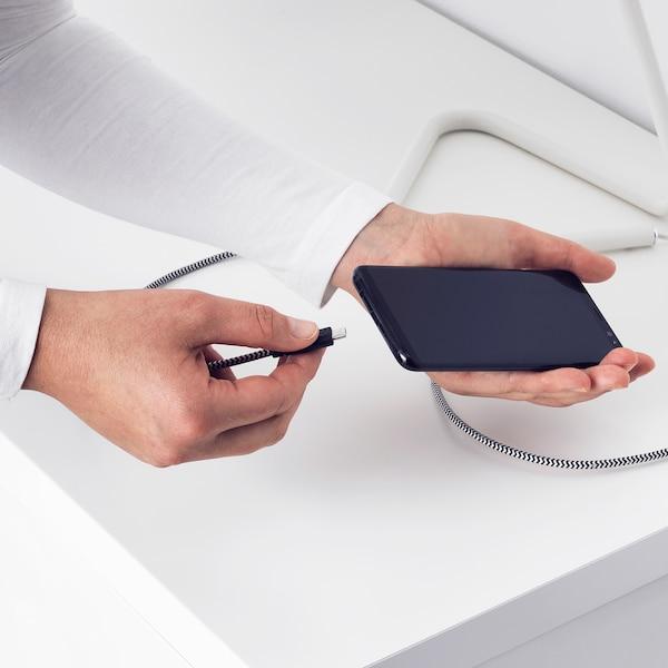 LILLHULT USB type C to USB cord, black/white, 0.4 m
