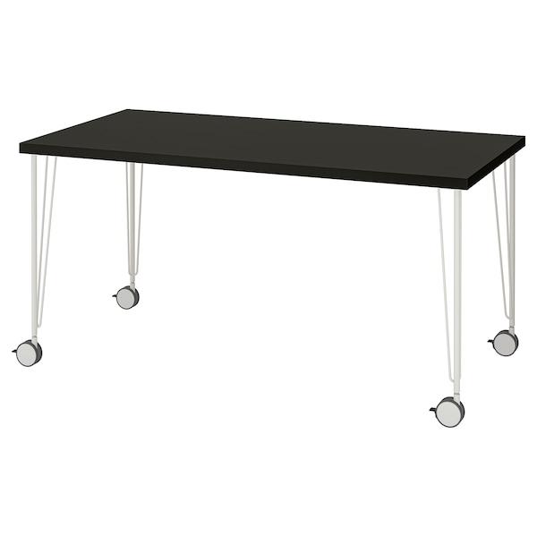LINNMON / KRILLE Table, black-brown/white, 150x75 cm