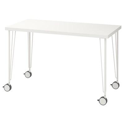 LINNMON / KRILLE Table, white, 120x60 cm