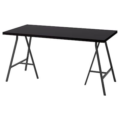 LINNMON / LERBERG Table, black-brown/grey, 150x75 cm
