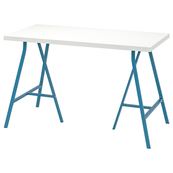 LINNMON / LERBERG Table, white/blue, 120x60 cm