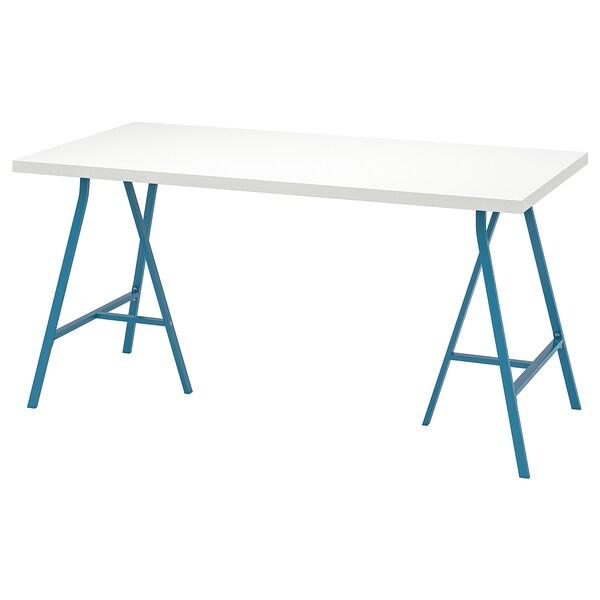LINNMON / LERBERG Table, white/blue, 150x75 cm