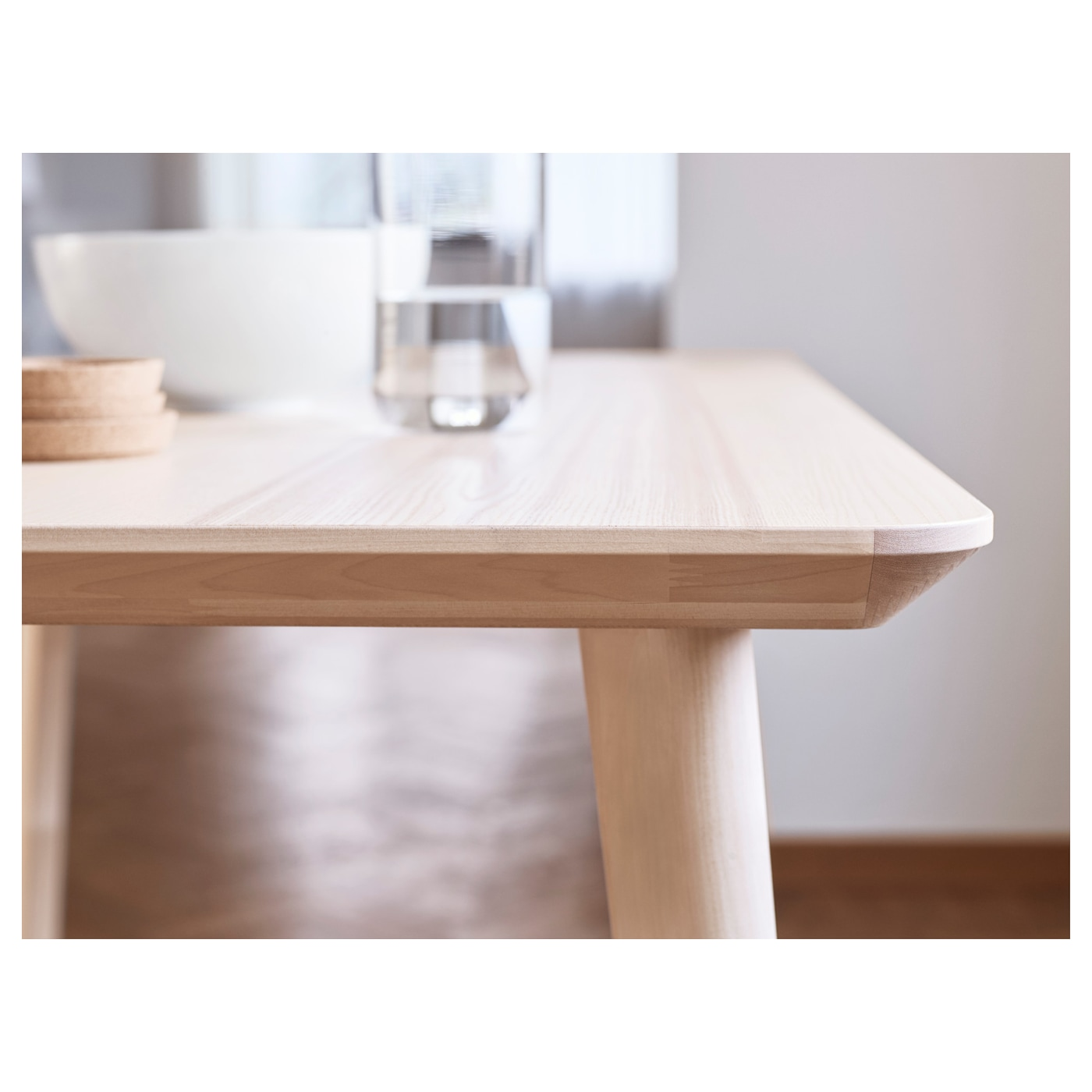 Lisabo coffee table ash veneer 70x70 cm ikea for Table haute design scandinave