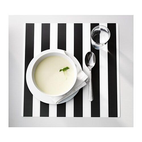 Ljuda place mat striped black white 37x37 cm ikea for Ikea tovagliette