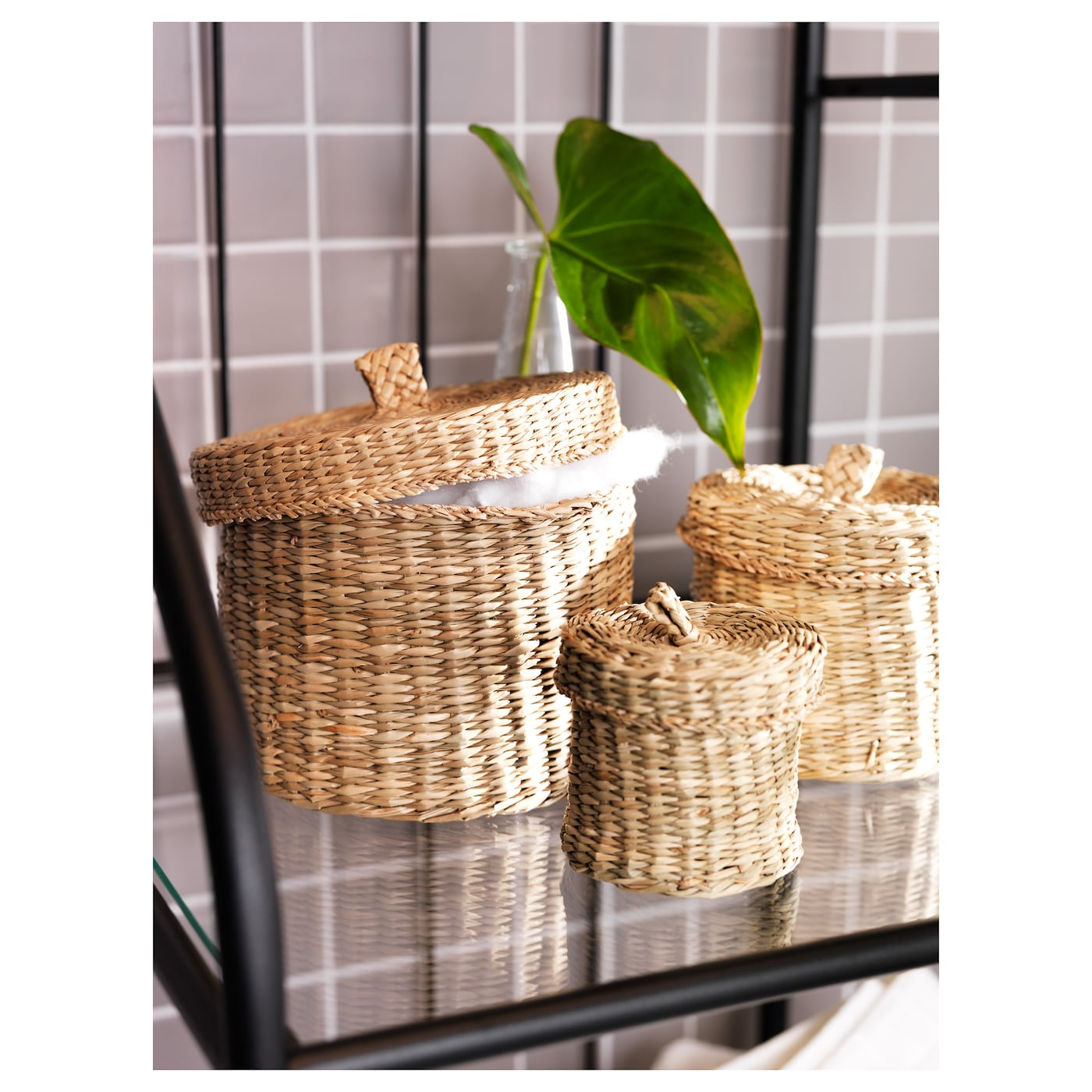 Ljusnan box with lid set of 3 seagrass ikea - Bathroom accessories sets ikea ...