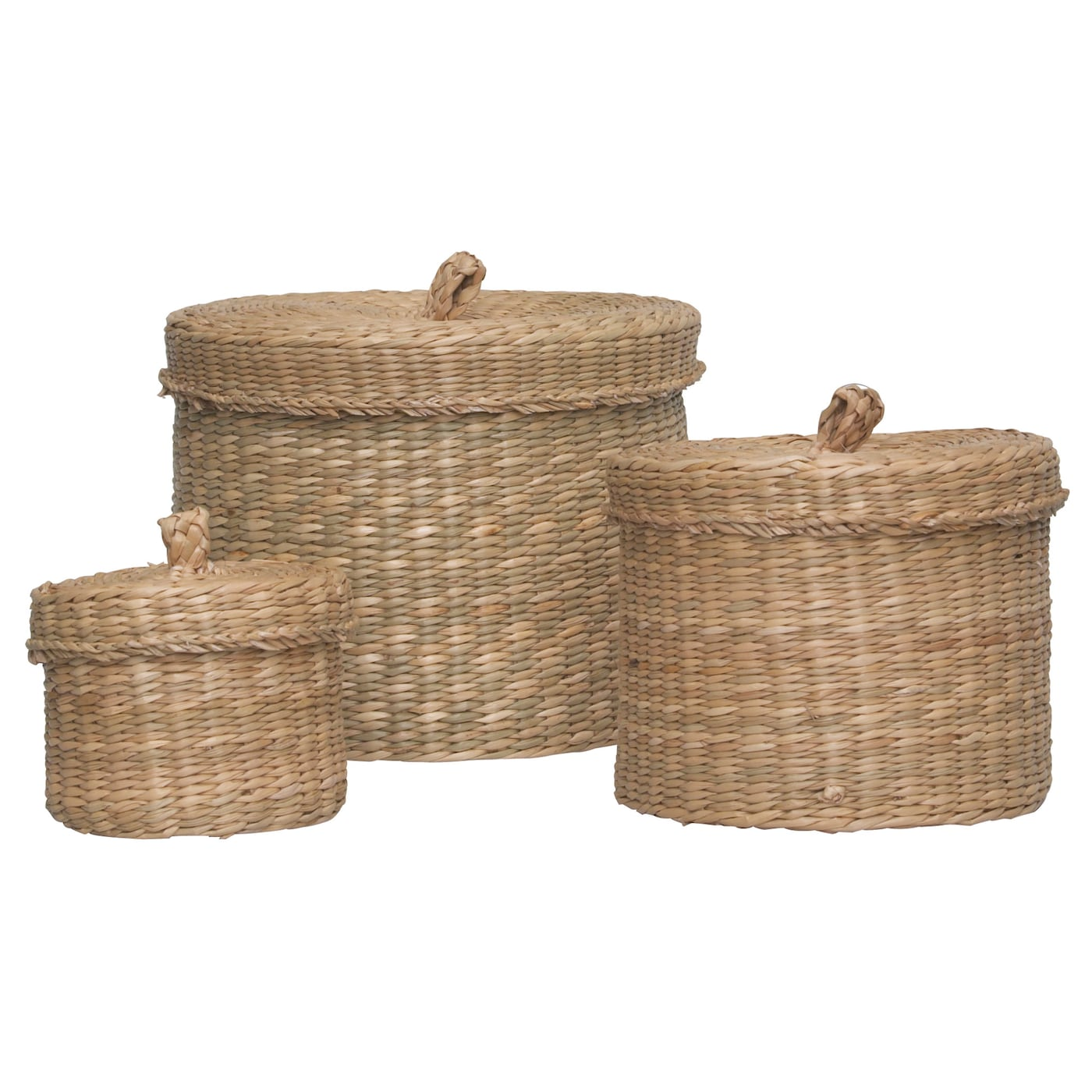 Ljusnan box with lid set of 3 seagrass ikea - Ikea cestas bano ...