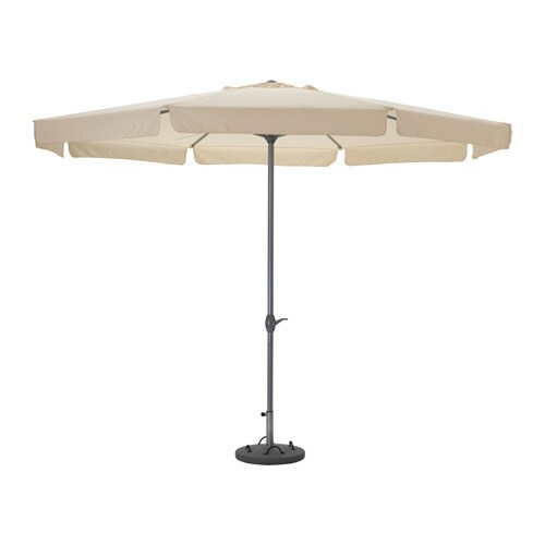 IKEA LJUSTERÖ/LÖKÖ parasol with base The parasol is easy to open or close by using the crank.