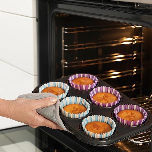 LOCKBETE Muffin tin, black, 28x19 cm