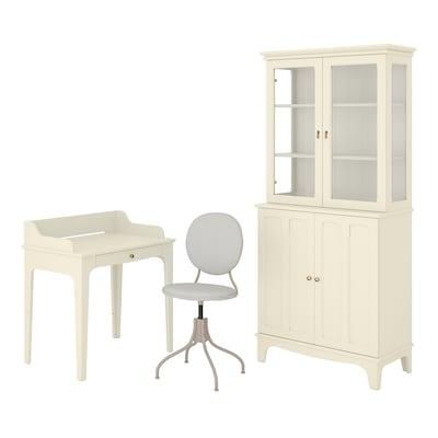 LOMMARP/BJÖRKBERGET Desk and storage combination, and swivel chair beige