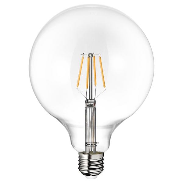 LUNNOM LED bulb E27 600 lumen, globe clear glass, 125 mm