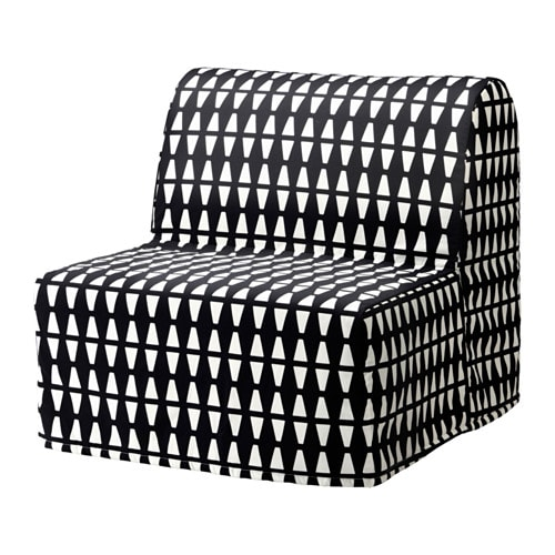 IKEA LYCKSELE HÅVET chair-bed Cover made of durable cotton with a geometric pattern.