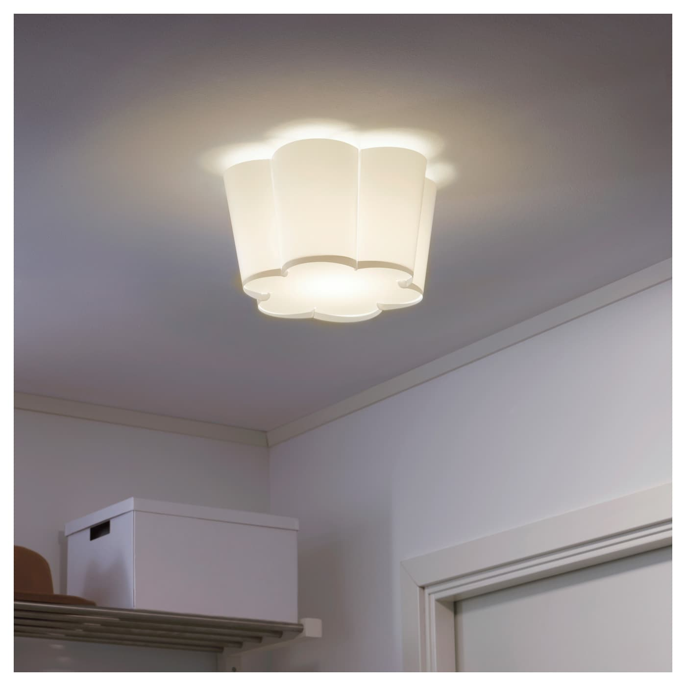 IKEA LYSBOJ ceiling lamp Diffused light that provides good general light in the room.