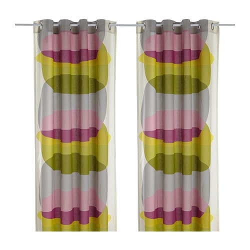 MALIN FIGUR Curtains, 1 pair IKEA The eyelet heading allows you to hang the curtains directly on a curtain rod.