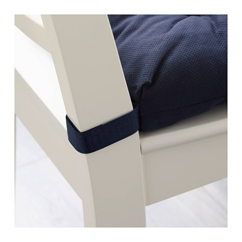 IKEA MALINDA chair cushion Hook and loop fasteners keep the chair cushion in place.