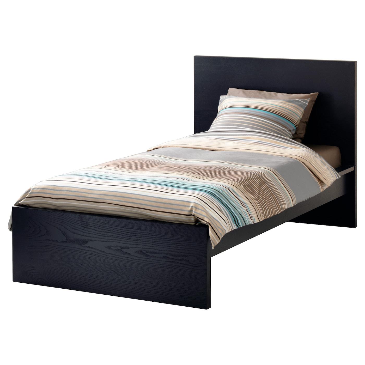malm bed frame high black brown leirsund standard single ikea. Black Bedroom Furniture Sets. Home Design Ideas