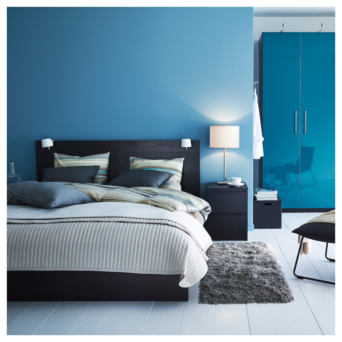 MALM Bed frame, high Black-brown/luröy Standard Double - IKEA