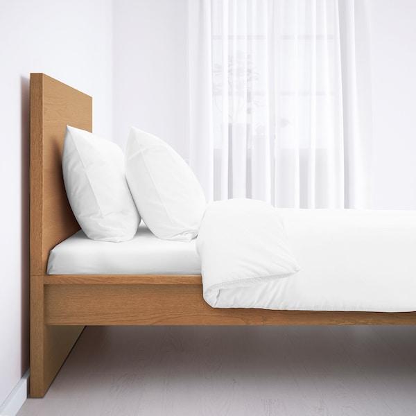 MALM Bed frame, high, oak veneer, Standard Single