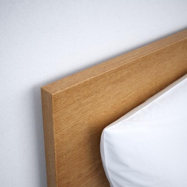 MALM Bed frame, high, w 2 storage boxes, oak veneer/Lönset, Standard Double