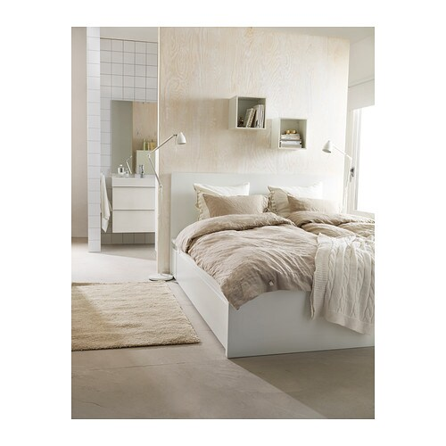 malm bed frame high w 2 storage boxes white leirsund 140x200 cm ikea. Black Bedroom Furniture Sets. Home Design Ideas