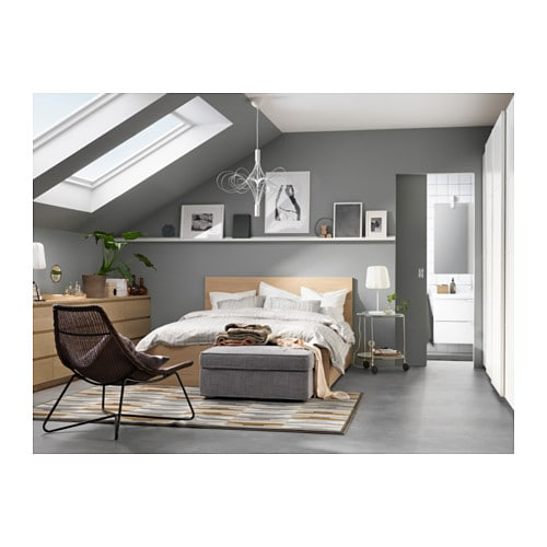 MALM Bed frame, high, w 4 storage boxes White stained oak veneer ...
