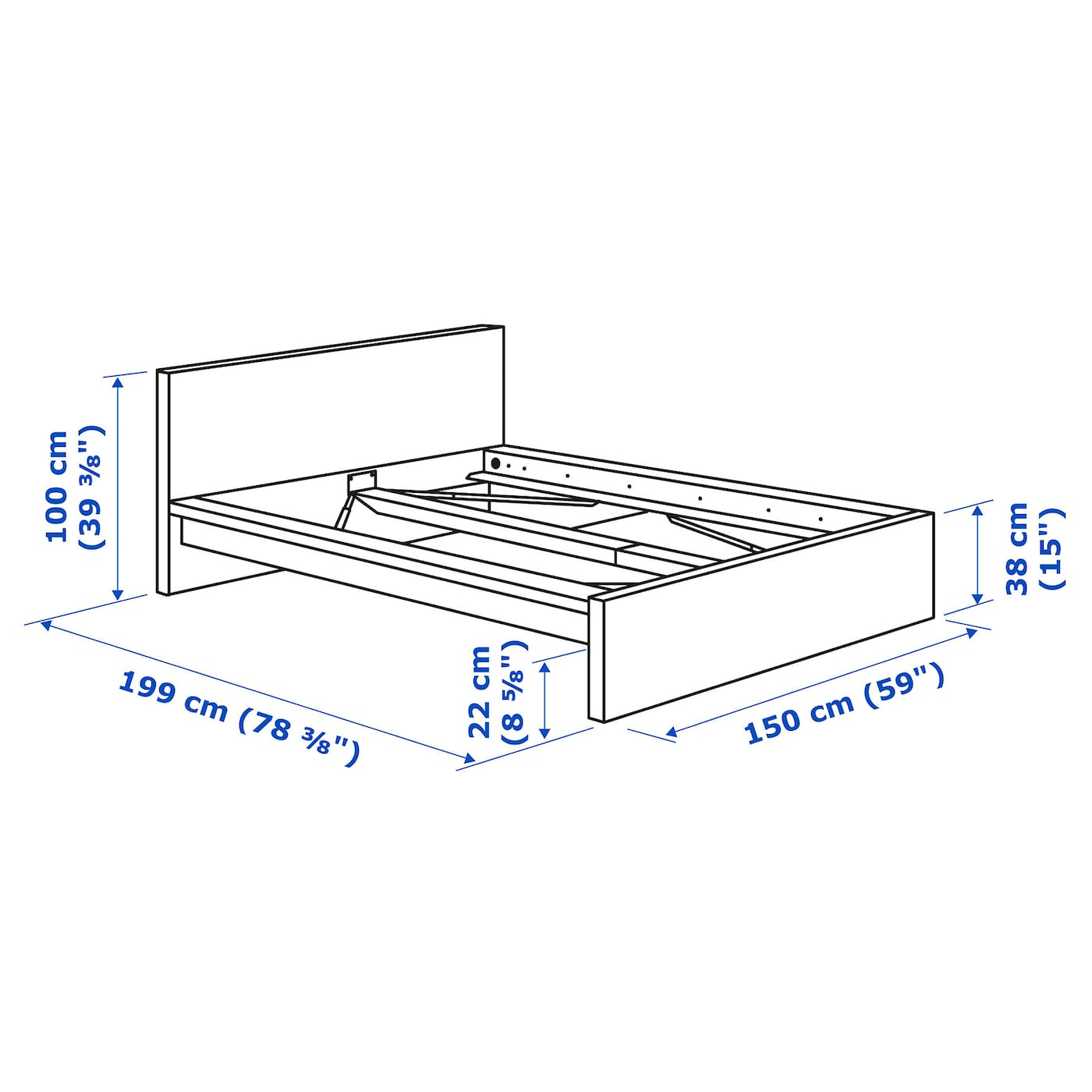 Malm Bed Frame High White Luröy Standard Double