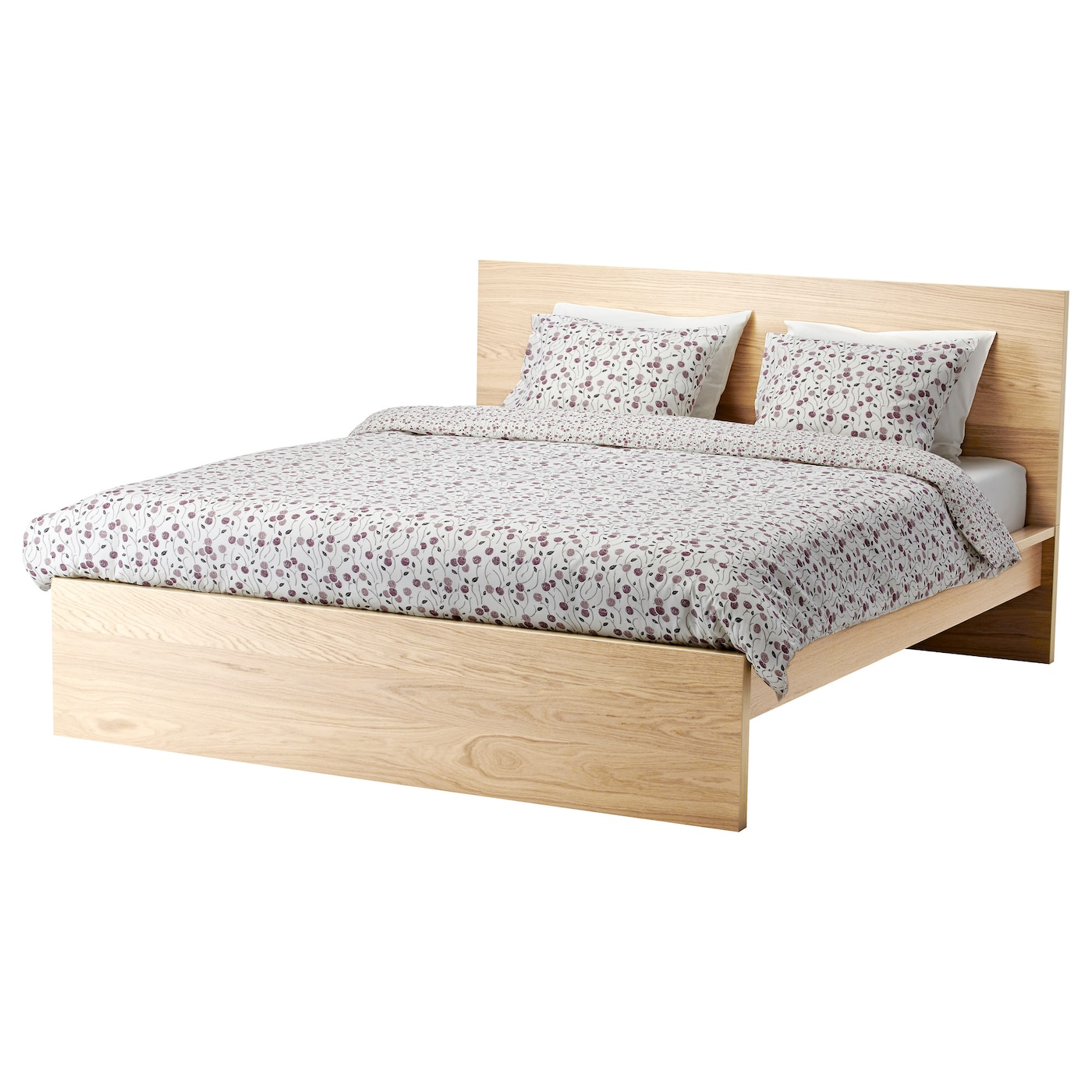 MALM Bed frame, high White stained oak veneer/luröy Standard ...