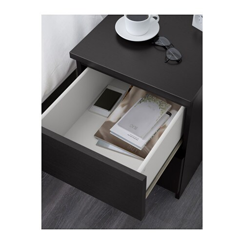 malm chest of 2 drawers black brown 40x55 cm ikea. Black Bedroom Furniture Sets. Home Design Ideas