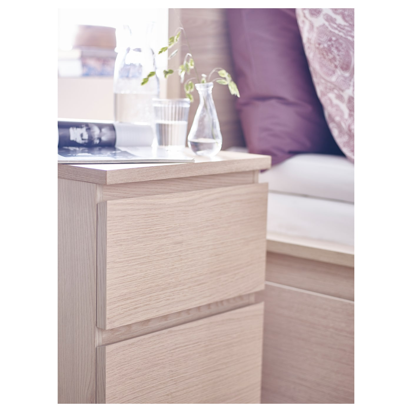 malm chest of 2 drawers white stained oak veneer 40x55 cm - ikea